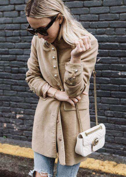 Coat: tumblr camel camel bag white bag chain bag gucci gucci bag sunglasses bracelets gold bracelet