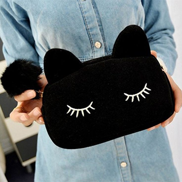Sleepy Kitty Cat Cosmetic Bag Pencil Pouch Makeup Brush Case Travel Clutch Handbag Purse Cute Kawaii Fashion (Black) >>> Click image to review more details. (This is an affiliate link and I receive a commission for the sales)
