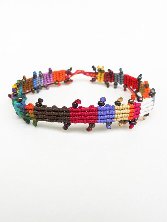 Colorful beaded anklet,Woven macrame,Tie knot closure,OOAK,Sea,Surfer,Patchwork style,Durable,Waxed fiber,Ethnic,Handmade friendship jewelry