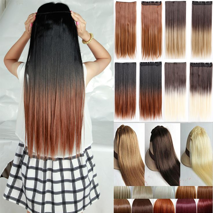 5 clips in Hair Extensions Brown Black Blonde synthetic clip in hair extensions ombre braiding hair Long Natural Hair