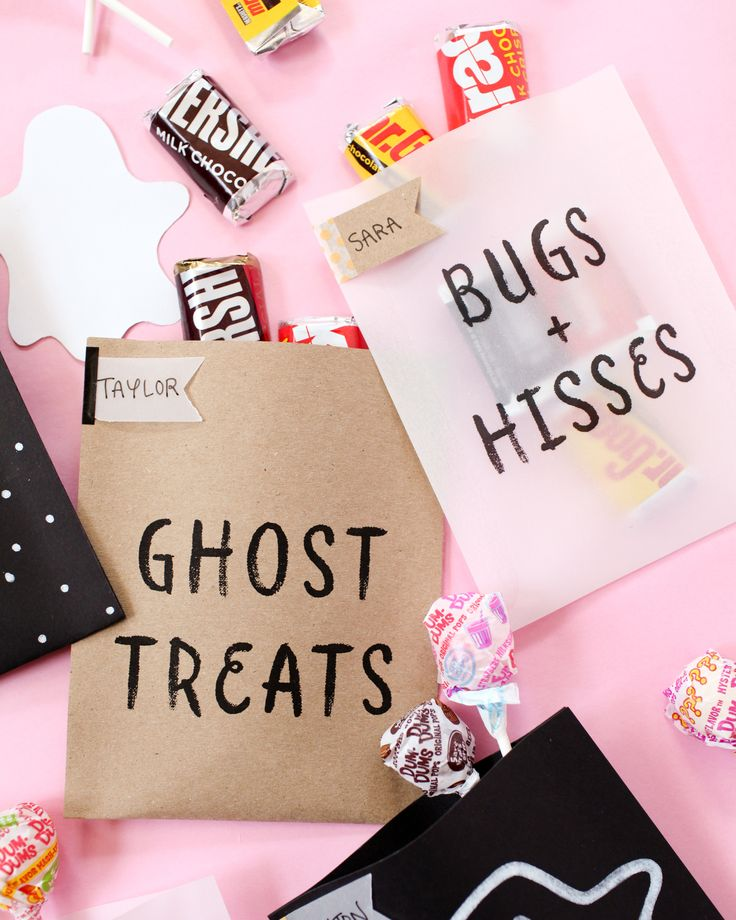 Create your own DIY treat bags this Halloween! It's a unique way to pass out candy or other spooky party favors to trick-or-treaters.