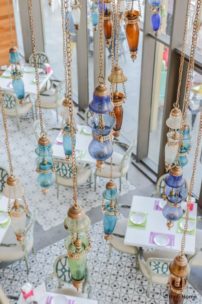 Arabic lighting glass Modern Arabic interior at Tamara Lebanese Bistro Cairo Festival City Mall Cairo Egypte ©️️BintiHome