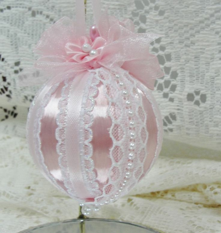 Handmade Christmas Tree Ornament Pink Satin, Ribbons, Bows, Lace & Pearls OOAK #BobbyeDene