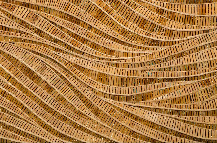 Papel mural de tejido artesanal en madera de bambú