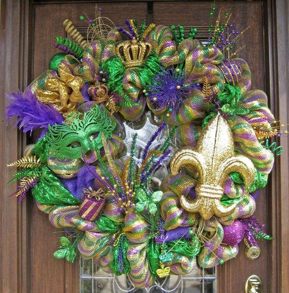 Mardi Gras Decorating Ideas | Deco Mech MARDI GRAS WREATH | Decoration Ideas For Holidays u0026 & 105 best Mardi Gras images on Pinterest | Louisiana Mardi gras ...