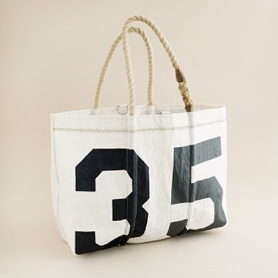 Sea Bags Tote $225 JCrew (made with reclaimed sails) - Too bad it's so expensive... Casey (and I) would absolutely love this!