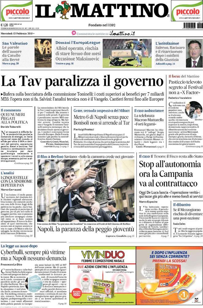 Rassegna Stampa Del 13 Febbraio 2019 Le Prime Pagine Dei Quotidiani In Edicola Febbraio Stampe Notizie