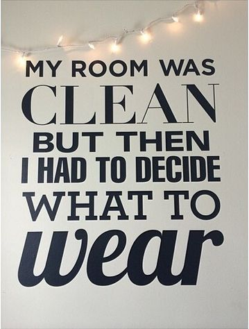 My room was clean but then I had to decide what to wear. (perf for dorm walls) #everyday #decal