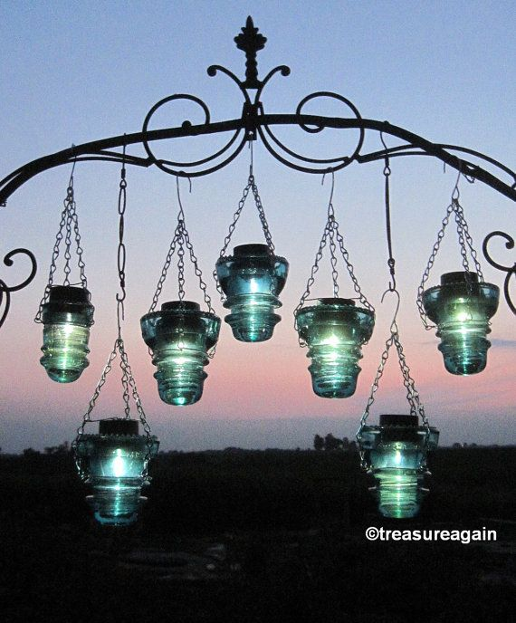 Solar Insulators Hanging Blue Antique Insulators by treasureagain  http://etsy.me/1f1uoPD