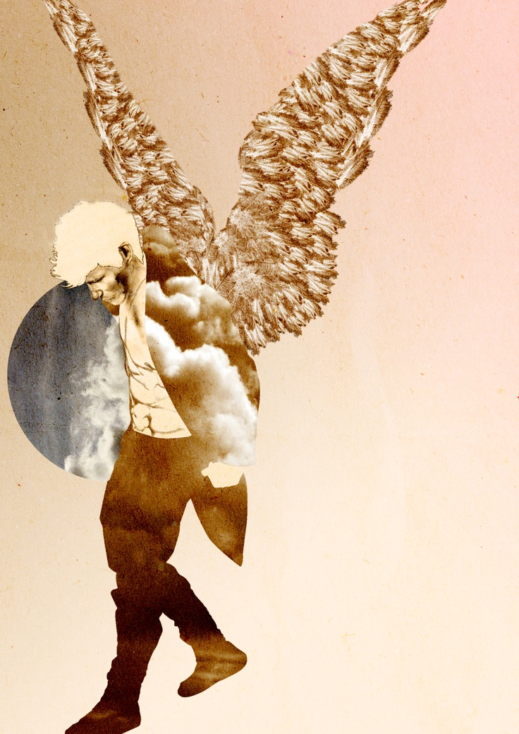 """Third Year Illustration piece for """"Modern Depiction of Angels"""" project- Mixed Media by Nas Abraham"""