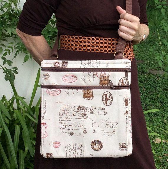 Light Tan cross body bag JW service bag by BirdOnAWireBags on Etsy
