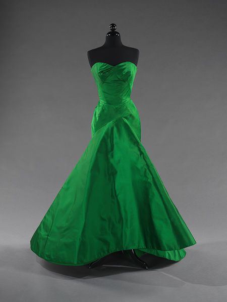 This would make my eyes and b00bs POP!  Ball gown, ca.1954 Charles James . Emerald green silk satin Brooklyn Museum Costume Collection at The Metropolitan Museum of Art, Gift of the Brooklyn Museum, 2009.