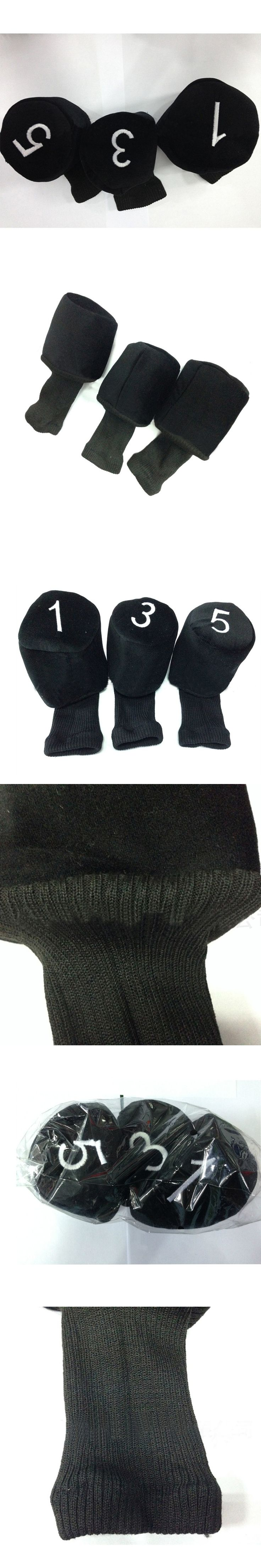 New Arrival 1 Set of 3 Long Neck Barrel Golf Club Head Covers Headcovers Protect Black Head Cover Protect Set Accessary