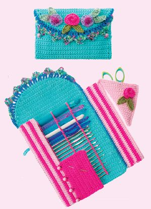 Crochet Hook Caddy Pattern - love the idea of the place for craft needles and scissors, maybe different colors and less flowers? ;)
