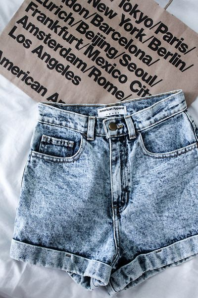 The Acid Wash High-Waist Jean Cuff Short by #AmericanApparel