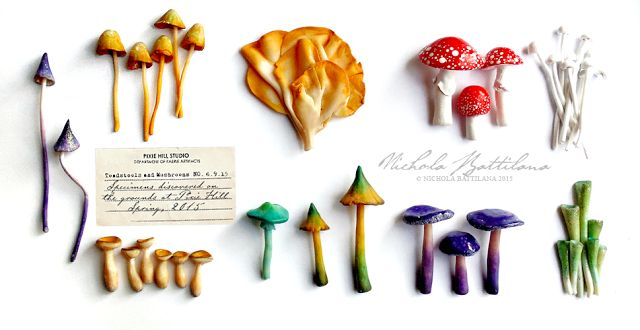 Polmer clay Fairy Mushrooms - Nichola Battilana