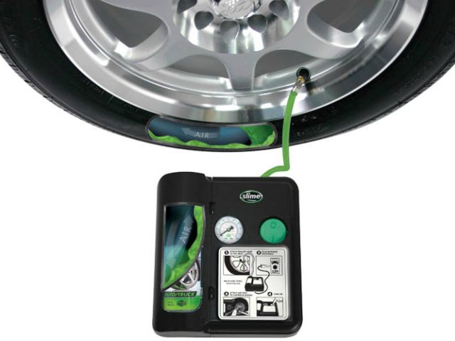 Slime Safety Spair Flat Tire Repair System is designed to instantly seal the puncture and quickly re-inflate the tire. It comes with a built-in air compressor that runs off the car's 12 V power supply. Just plug the unit in and it will automatically pump in sealant to seal the puncture and then re-inflate the tire.