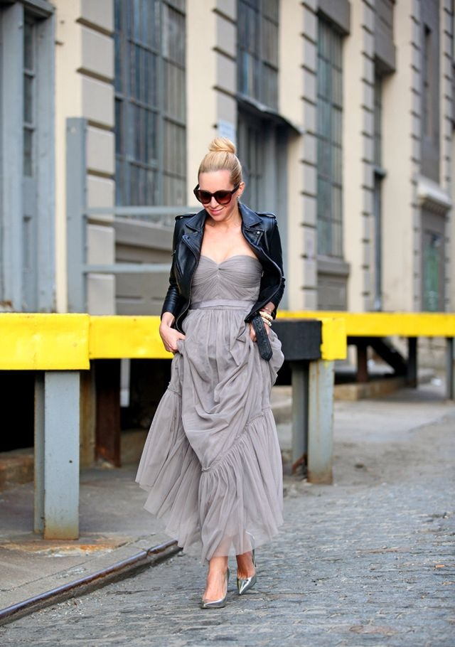 Glam Grey Dress With Black Leather Jacket