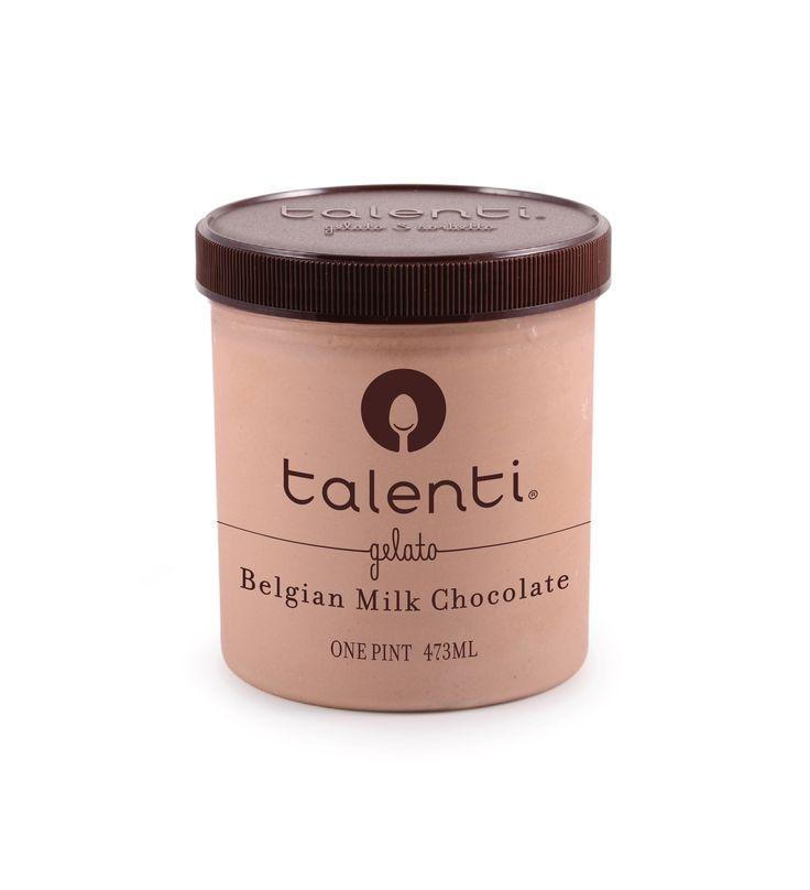 Talenti Belgian Milk Chocolate gelato. Hand-melted, imported Belgian milk chocolate blended until smooth with fresh milk, cream, eggs and a hint of vanilla. It's totally acceptable for you to become best friends with this pint.