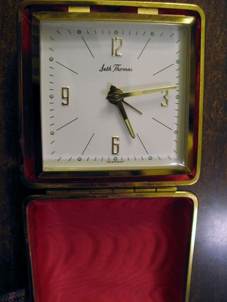 Vintage Seth Thomas Travel Alarm Clock - Germany - Red Hard Case - Works Well