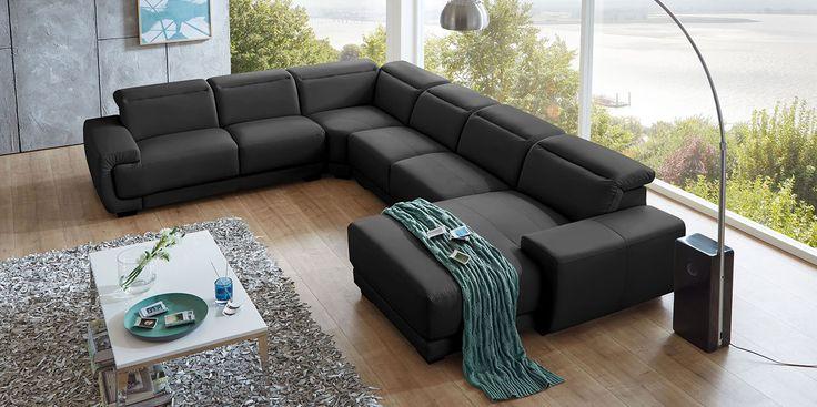 best 25 wohnlandschaft leder ideas on pinterest. Black Bedroom Furniture Sets. Home Design Ideas