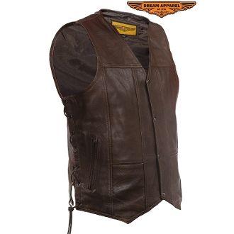 Mens 10 Pocket Brown Motorcycle Leather Vest