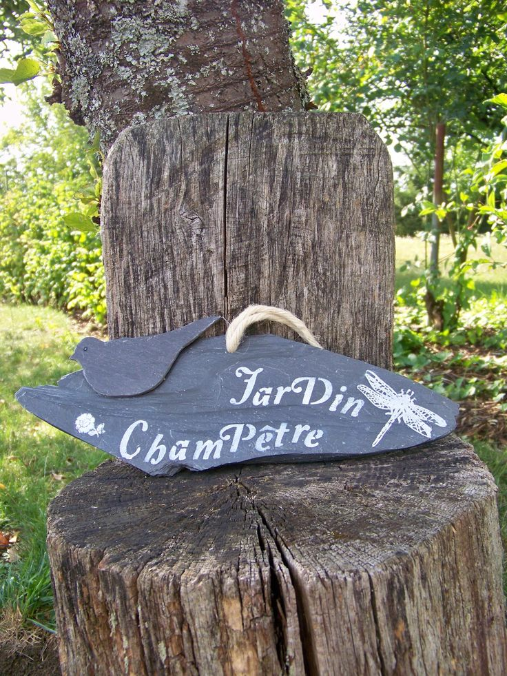 """décoration de jardin suspension ardoise """"jardin champêtre"""" : Accessoires de maison par troglodyte-mignon"""