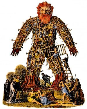 'Unimaginably superstitious creatures' … a druidic wicker man, set alight as a human sacrifice to the gods.