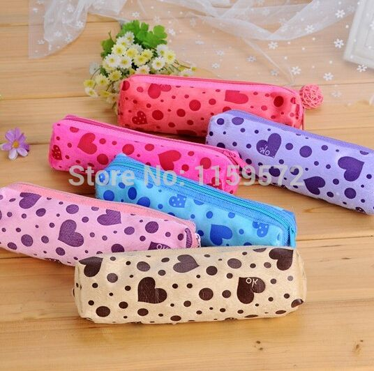 Korea style stationary, candy color lint heart small pencil bags for school kids, 19*8cm, free shipping, drop shipping