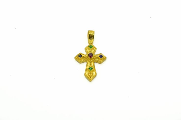 Byzantine Cross Pendant- Sapphire, Emerald, Ruby,925 Sterling Silver, 22K Gold Plated.High Quality Handmade product. by DAPERIS on Etsy
