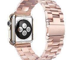 iWatch náramok na Apple hodinky z ocele s bumperom - ružové zlato http://www.luxusne-doplnky.eu