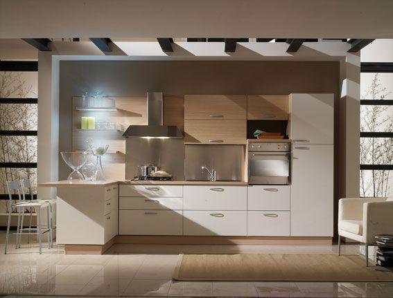 Cucina bbianca e legno rovere sbiancato con una piccola isola perfect for the home for Cucina lineare 3 metri
