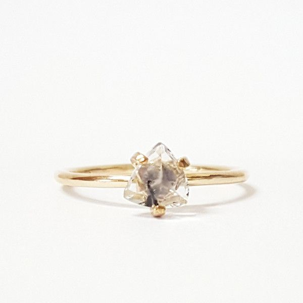 Trillion Cut Rutilated Quartz Gold Ring available at www.thelandofsalt.com