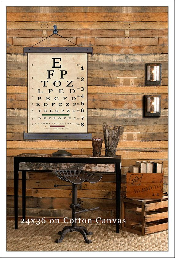 """Vintage Eye Chart. Snellen Eye Chart Pull Down. 24""""w x 36""""h,  School Chart, Wall Chart, Hanging Map, Antique Reproduction Aged"""