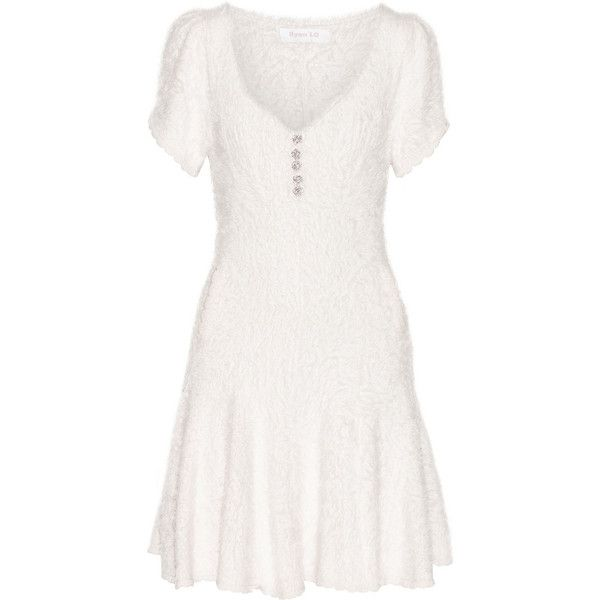 Ryan Lo Crystal-embellished textured stretch-knit mini dress, Size: S ($635) ❤ liked on Polyvore featuring dresses, white, ryan lo, white sparkly dress, mini dress, short white dresses and short dresses