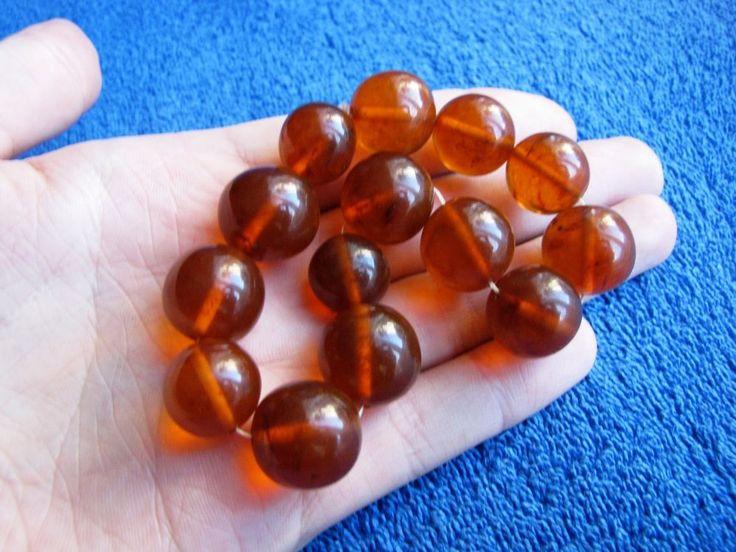 Natural Baltic Amber 38 gr bracelet round bead cognac Butterscotch 老琥珀 USSR #Handmade