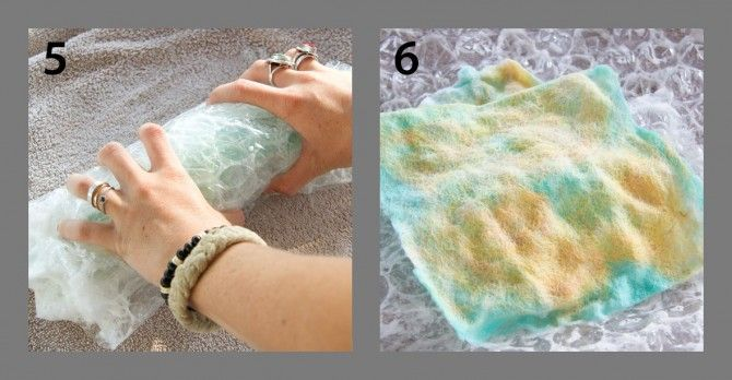 Wet felting with Cynthia Shaffer -- instructions for making a scarf with batt