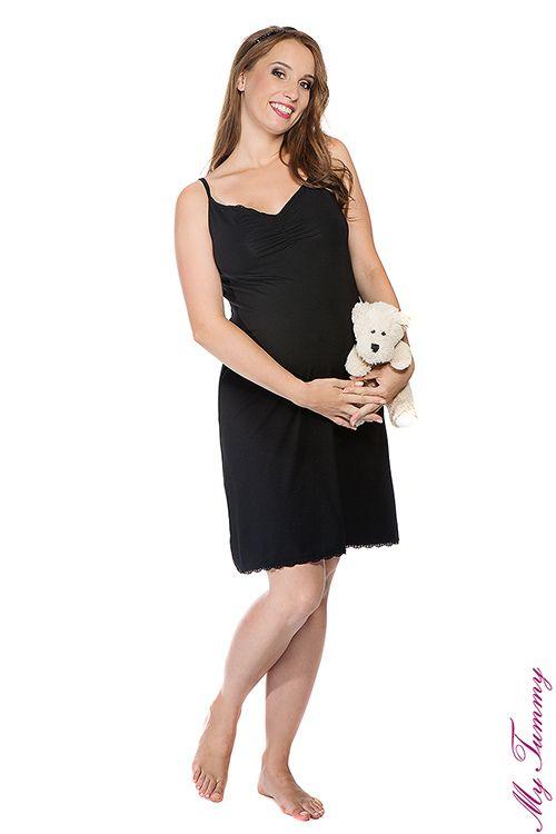 Koszulka ciążowa nocna Cindy czarna