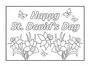 your child can enjoy personalising and colouring in this st davids day greeting card