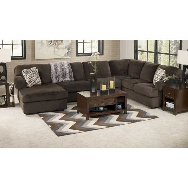 Signature Design By Ashley Jessa Place Chocolate Casual Sectional Sofa With Left Chaise Miskelly Furniture Jackson Mississippi