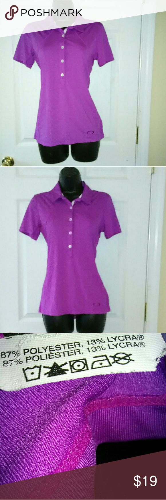 """Oakley sz small purple polo shirt Excellent used condition.  16"""" armpit to armpit  Bundle with other items for discount or make an offer! Oakley Tops"""