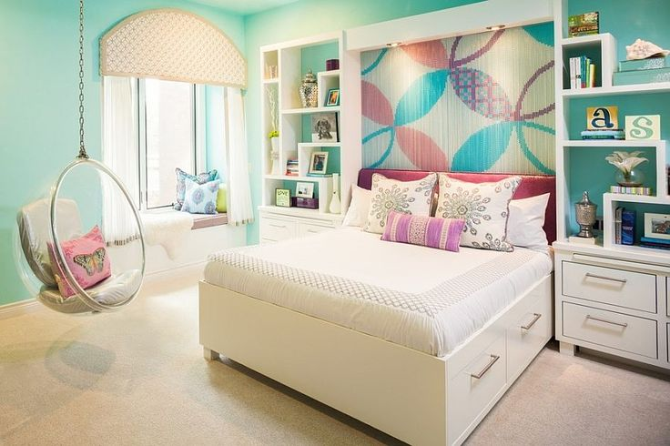Kids bedroom with chain accent wall feature can be easily transformed into an adult space - Decoist