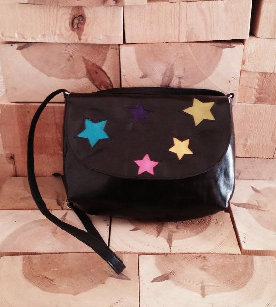 Crossbody bag with Color StarsShoulder Bag, Shoulder Bag for Women, Black Shoulder Bag OOAK