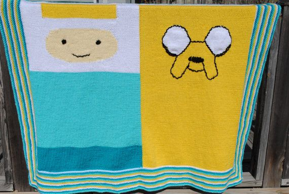 Adventure Time Knitting Patterns : Adventure Time Knit Blanket with Finn and by RachelMullerYarns Adventure Ti...