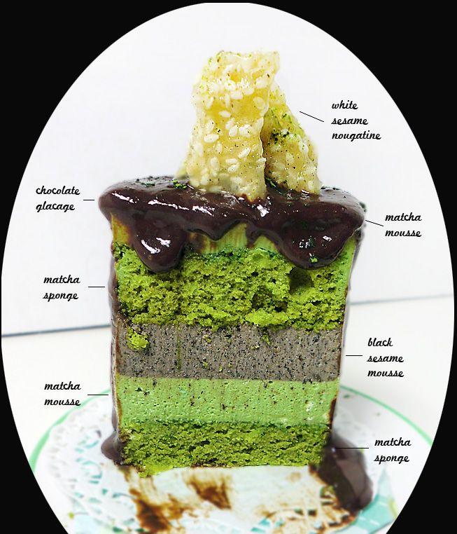 Matcha Black Sesame Entremet with White Sesame Nougatine   A Dessert Diet