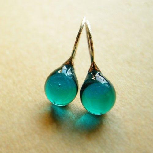 Beautiful drops of sea water. Teardrop earrings - glass and sterling silver. knap's shop on etsy, $28