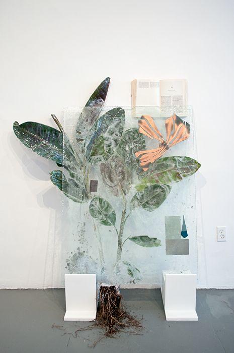 artsatlas:    ISaved the Best for Last (Banana Plant),  Heidi Norton   glass, resin, plant, mixed media,   36x58 in,   2011