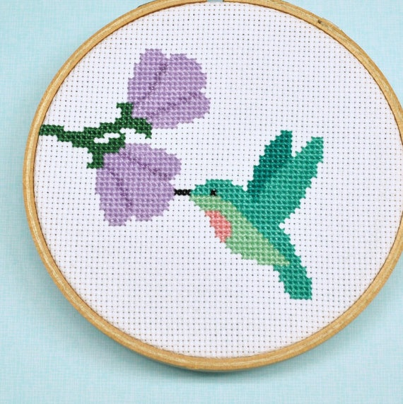 Hummingbird Counted Cross Stitch Pattern by Sewingseed on Etsy.
