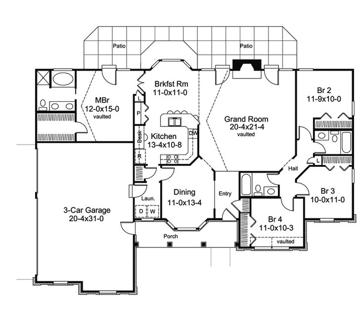 131 best ranch house plans images on pinterest ranch for Ranch house plans with bedrooms together
