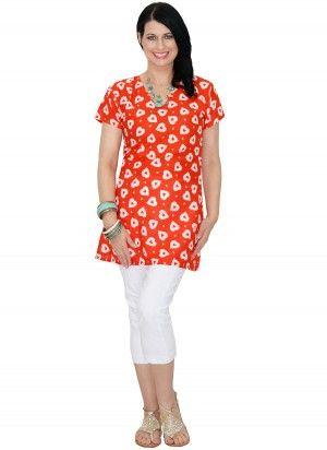 Faith Mid Length Orange Heart Tunic Top  AUD $24.95